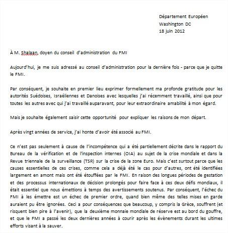 lettre de demission licence Traduction exclusive] La lettre de démission de Peter Doyle lettre de demission licence