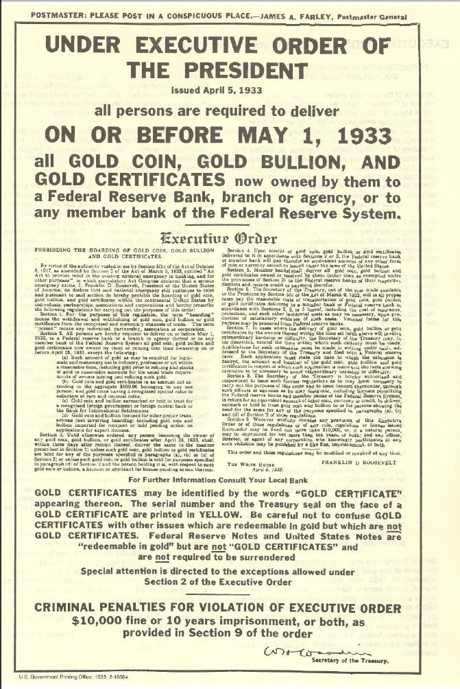 Gold Confiscation de l'Or par Roosevelt en 1933