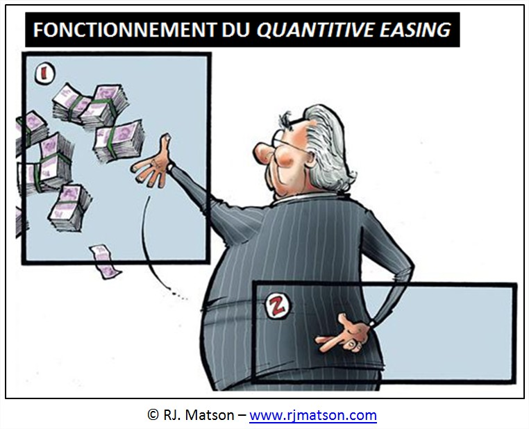 cartoon dessin humour monetisation fed quantitative easing