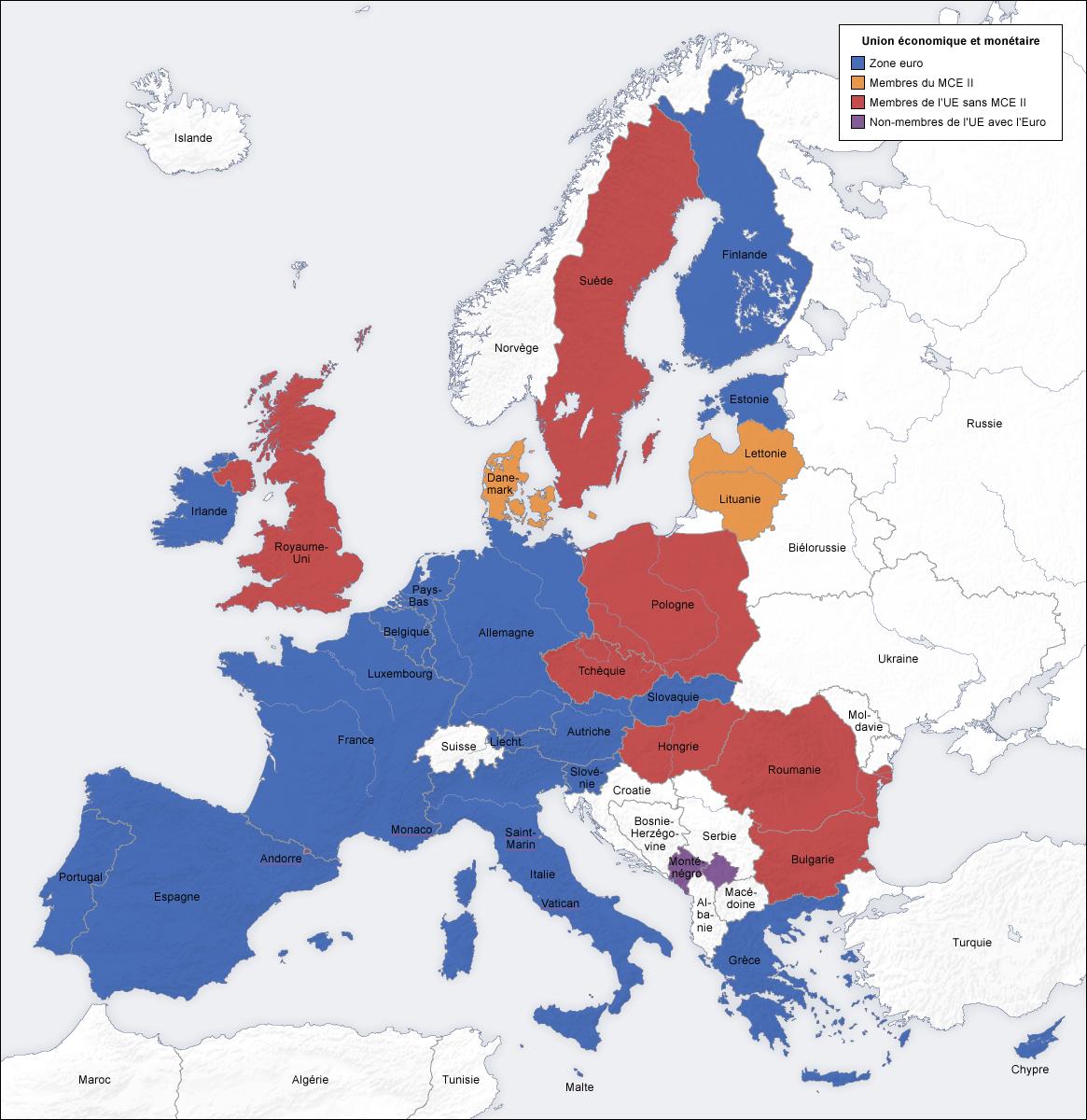 carte eurozone zone euro