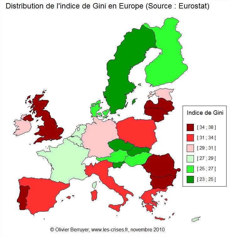 Inégalités monde carte indice de gini europe