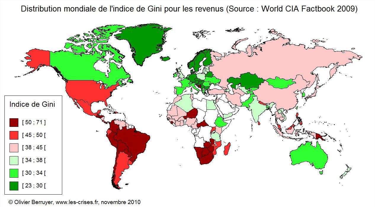 Inégalités monde carte indice de gini monde