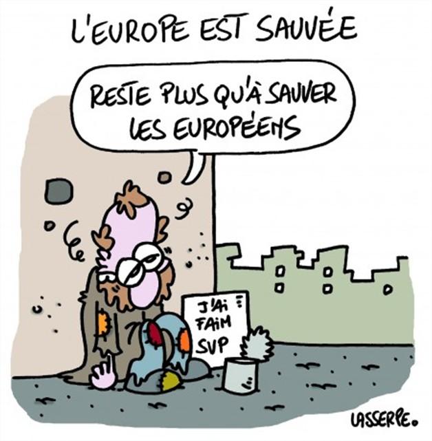 Cartoon : l'europe est sauvée-reste plus qu'à sauver les européens