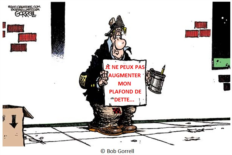 Dessin Cartoon plafond de dette USA