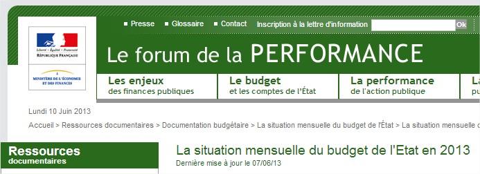 Situation mensuelle du budget français