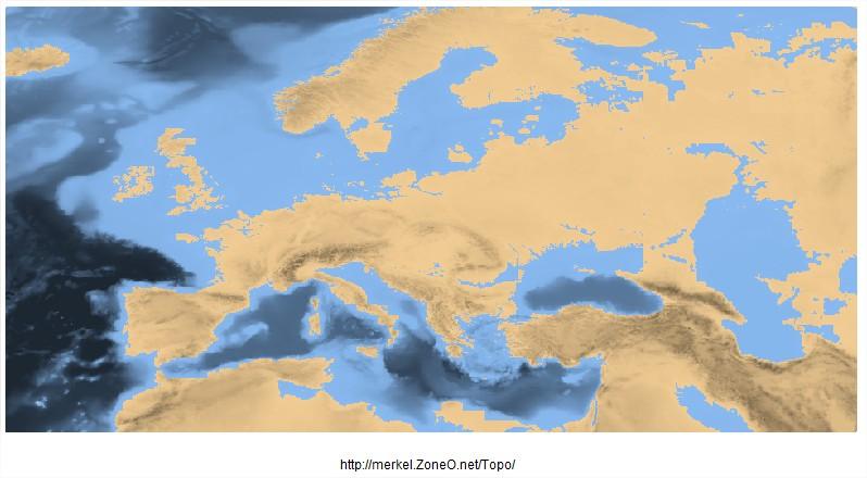 Europe avec 80 mètres d'eau en plus