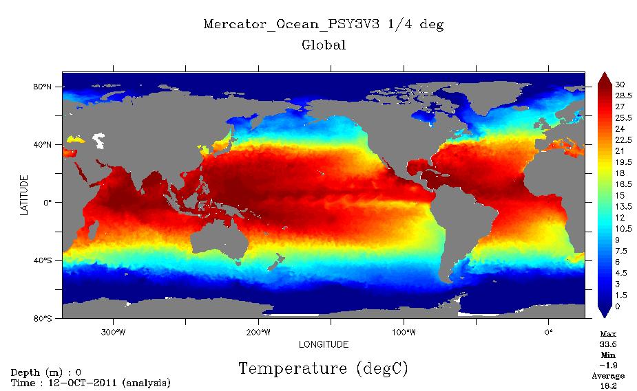 Anomalie Températures ocean