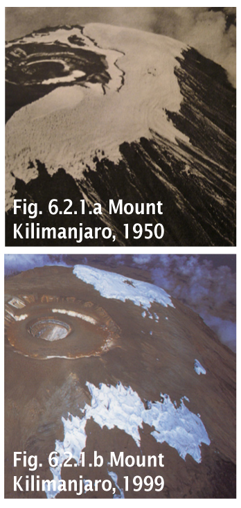 Fonte glacier retrait recul neiges Kilimanjaro