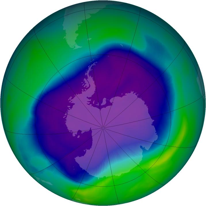 Superficie Taille du trou de la couche de l'ozone maximum 2006