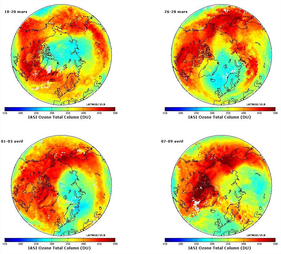 Trou de la couche d'ozone Arctique hémisphère nord 2011