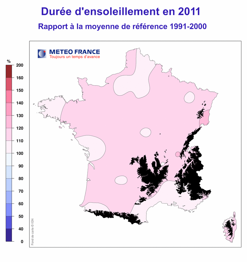 Climat France 2011 ensoleillement
