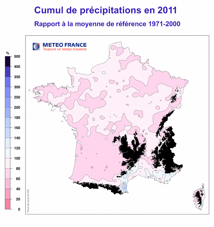 Climat France 2011 précipitations
