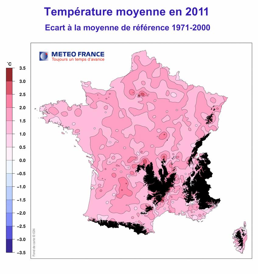 Climat France 2011 températures