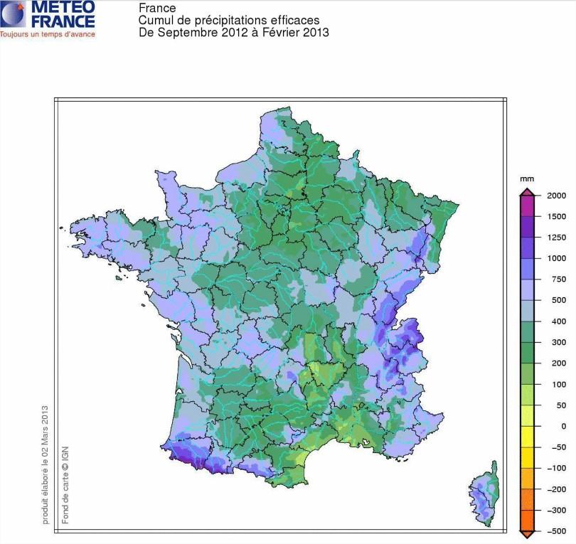 Précipitations efficaces France