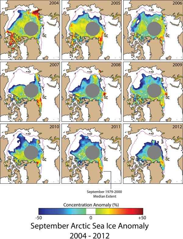 Anomalie concentration Banquise arctique