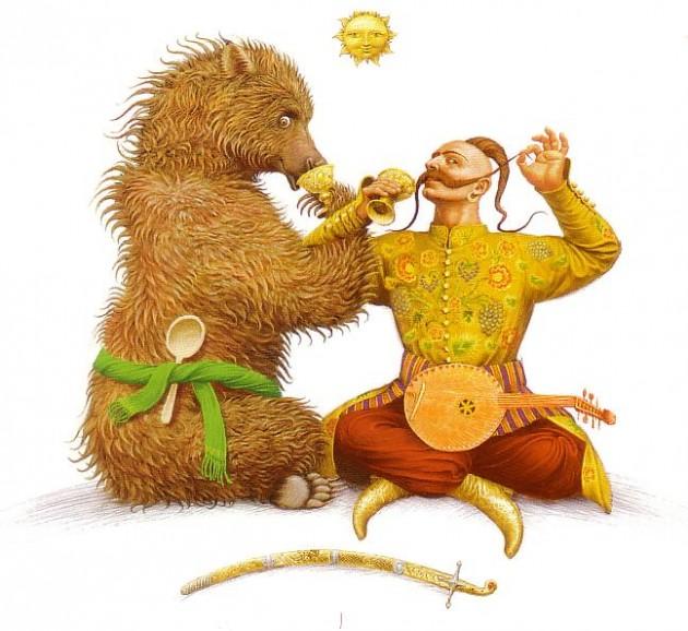 L'ours russe et le Cosaque ukrainien