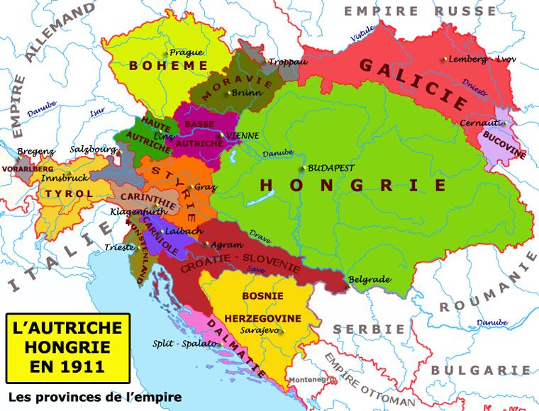 Carte Autriche Hongrie en 1911