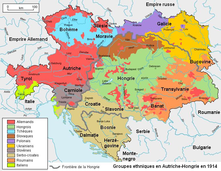 Carte ethnique Autriche Hongrie