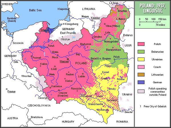 Langues en Pologne - 1937