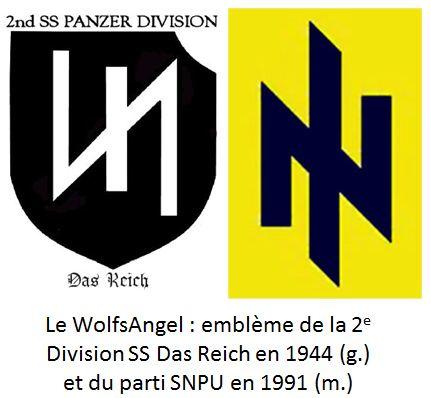 L'emblème du SNPU était la WolfsAngel (ou « Rune du Loup »), symbole classique chez les néo-nazis.
