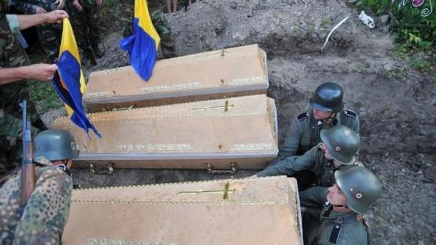 cérémonie de ré-inhumation de la division Waffen-SS Galicie (retrouvés dans un terrain) le 28 juillet 2013 à Gologory en Galicie
