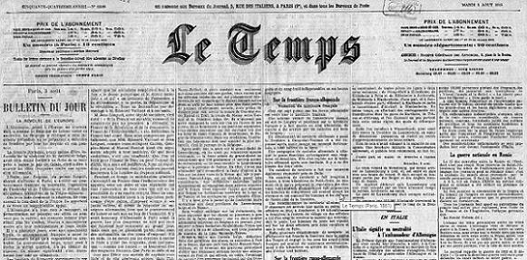 3 ao t 1914 les journaux du premier jour a n 39 emp che pas nicolas. Black Bedroom Furniture Sets. Home Design Ideas