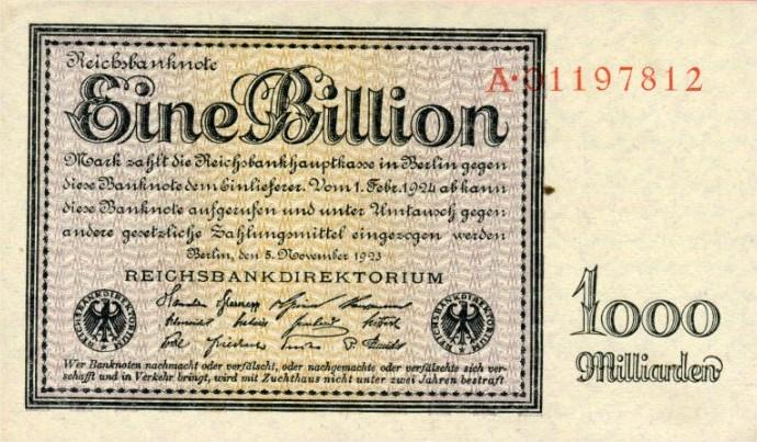 Billet 1 billion de marks 1923