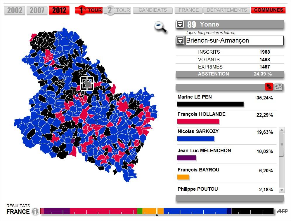 carte résultats présidentielle 2012 1er tour
